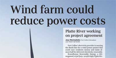 Huge wind farm could reduce Fort Collins electricity rates, triple wind power.